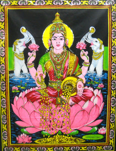"Crafts of India Goddess Religious Batik Lakshmi Cotton Wall Hanging Tapestry : Size 43""x30"" Inches"