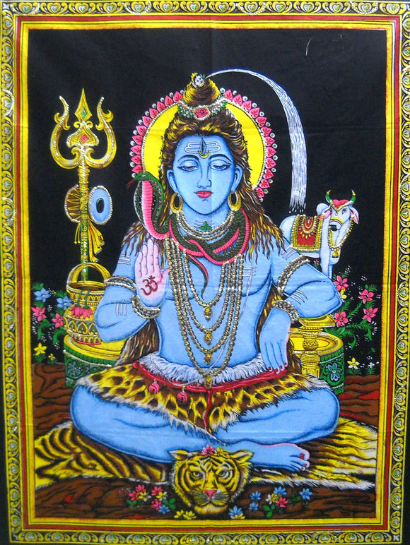 Crafts of India Lord Shiva Sequins Cotton Wall Hanging Tapestry : Size 43