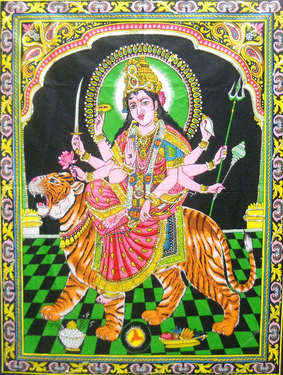 Crafts of India Goddess Durga/Sheran Wali MATA Batik Cotton Wall Hanging Tapestry : Size 43