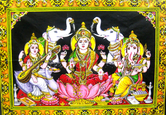 Crafts of India Lakshmi Ganesha Saraswati Batik Cotton Wall Hanging Sequins Tapestry : Size 43