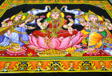 "Crafts of India Lakshmi Ganesha Saraswati Batik Cotton Wall Hanging Sequins Tapestry : Size 43""x30"" Inches"