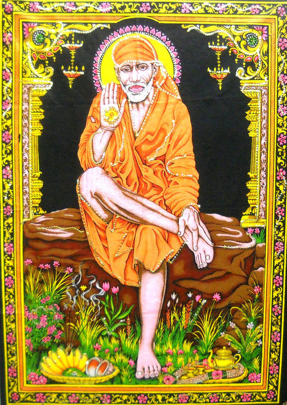 Crafts of India Sai Baba Batik Sequin Cotton Wall Hanging Tapestry : Size 43