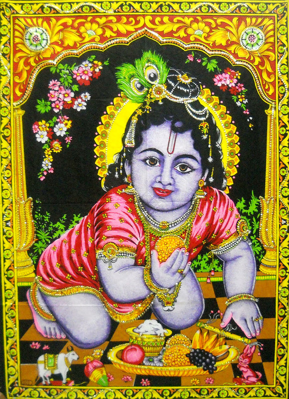 Crafts of India Ladoo Gopal Cotton Sequin Sitara Batik Wall Hanging Tapestry : Size 43