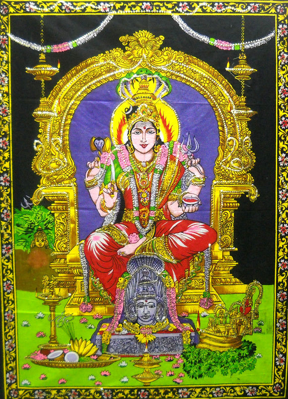 Crafts of India Mariamman Batik Religious Wall Hanging Tapestry : Size 43