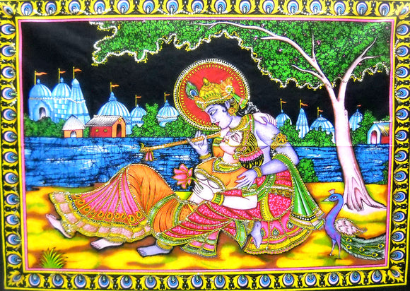 Crafts of India Radha Krishna Religious Cotton Batik Wall Hanging Sequins Tapestry : Size 43