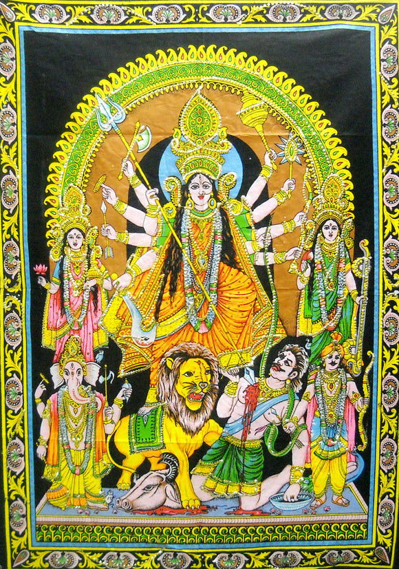 Crafts of India Goddess Durga Killing Mahishasura Sequins Sitara Cotton Wall Hanging Tapestry : Size 43