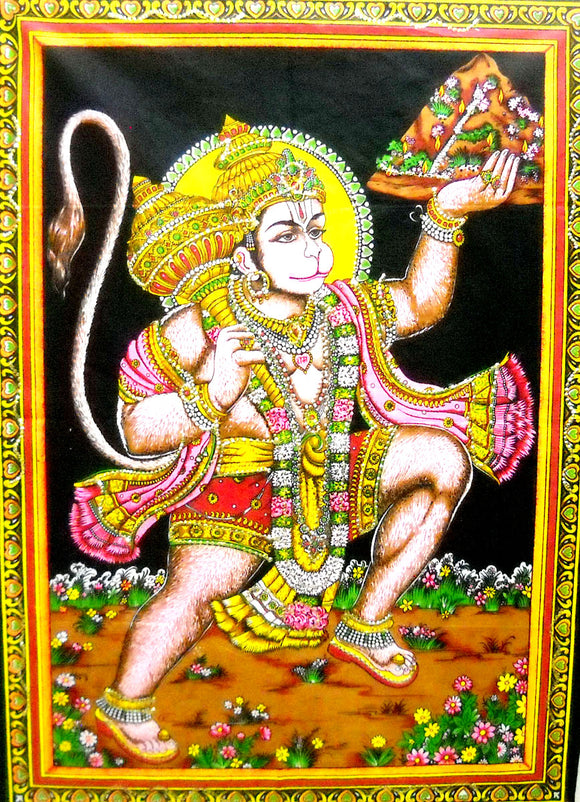 Crafts of India Flying Lord Hanuman Cotton Wall Hanging Tapestry : Size 43