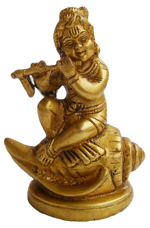 Crafts of India  Fluting Bal Krishna Sitting on Shankh