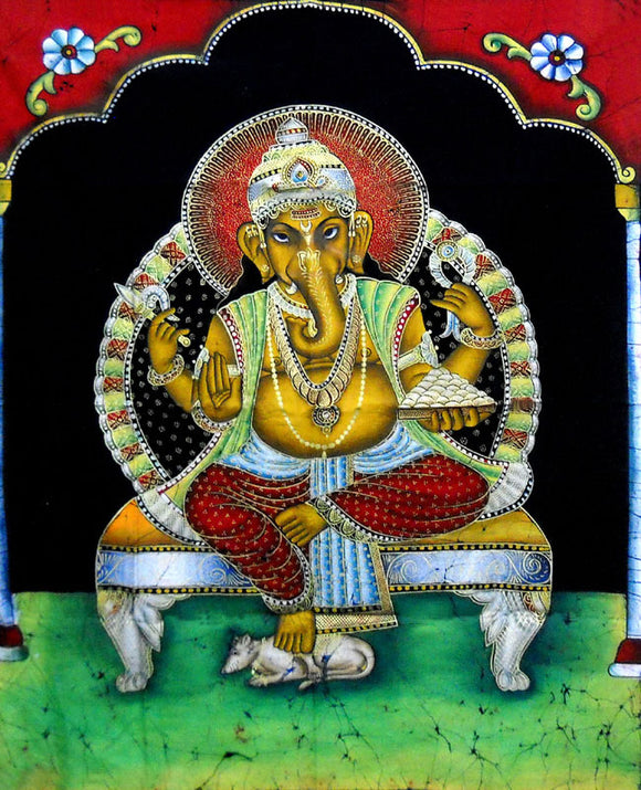 Crafts of India : Batik Painting Blessing Ganesha