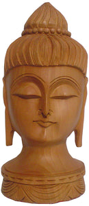 Crafts of India : Buddha Head Wooden Statue