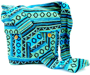 Crafts of India Blue Color Cotton Woven Handmade Crossbody Boho Hippie Women Shoulder sling Bag