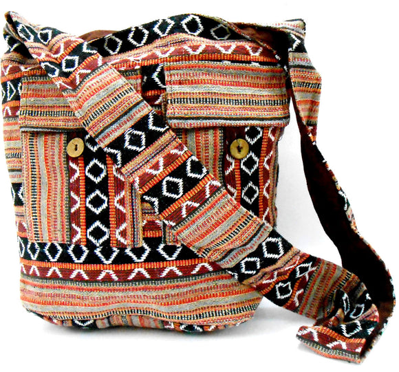 Crafts of India Brown Color Cotton Woven Handmade Crossbody Boho Hippie Women Shoulder sling Bag