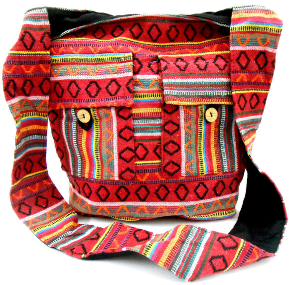 Crafts of India Red Color Cotton Woven Handmade Crossbody Boho Hippie Women Shoulder sling Bag