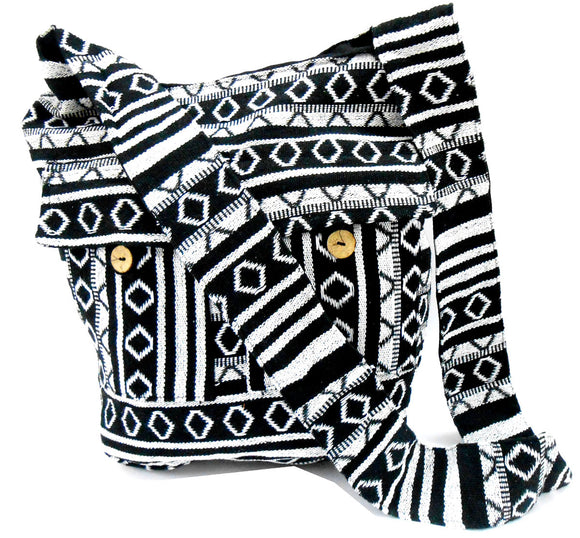 Crafts of India Black and White Color Cotton Woven Handmade Crossbody Boho Hippie Women Shoulder sling Bag