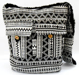 Crafts of India geometrical design Black and white Large Boho Crossbody handmade Sling Shoulder Bag