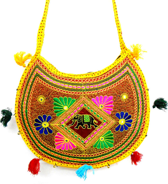 CRAFTS OF INDIA ETHNIC YELLOW ELEPHANT FLORAL EMBROIDERY DESIGN MIRROR WORK MESSENGER CROSSBODY BAG FOR WOMEN