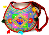 Crafts of India Ethnic Red Elephant Floral Embroidery Design Mirror Work Messenger Crossbody Bag for Women