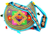 Crafts of India Ethnic Blue Elephant Floral Embroidery Design Mirror Work Messenger Crossbody Bag for Women