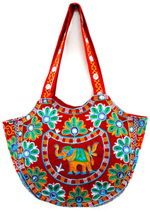 Crafts of India Handcrafted Ethnic Red Embroidered Rajasthani Boho Elephant Shoulder Bag For Women