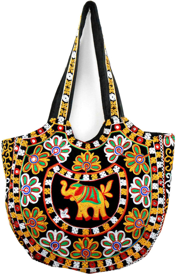 Crafts of India Handcrafted Ethnic Embroidered Brown Rajasthani Boho Elephant Shoulder Bag For Women