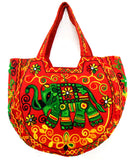 Crafts of India Handcrafted Ethnic Orange Embroidered Rajasthani Boho Elephant Shoulder Bag For Women