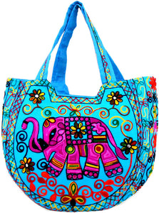Crafts of India Handcrafted Ethnic Blue Embroidered Rajasthani Boho Elephant Shoulder Bag For Women