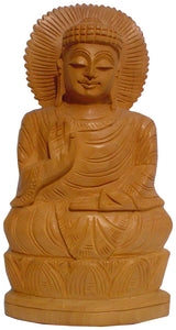 Crafts of India : Meditating Buddha Wooden Statue