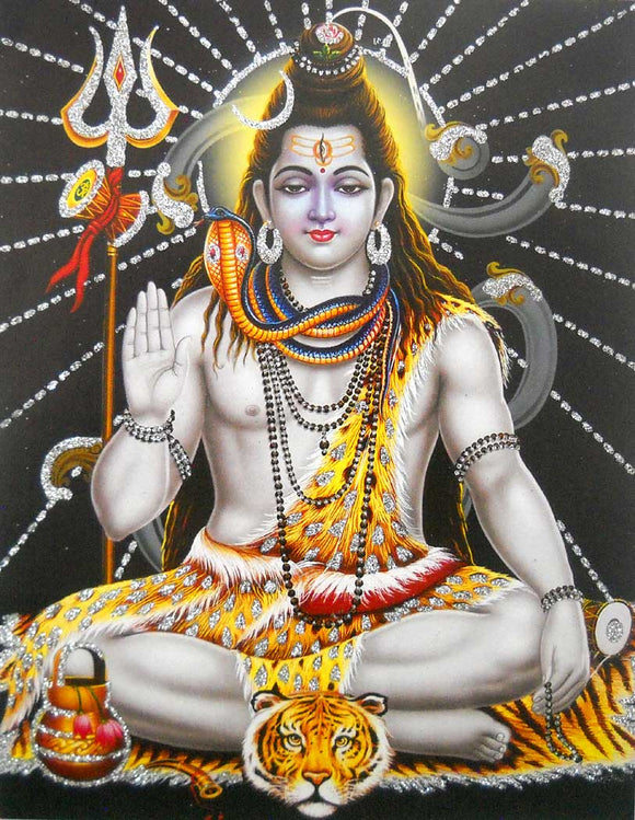 Blessing Shiva poster/ Hindu God Poster with Glitter -reprint on paper (Unframed : Size 9