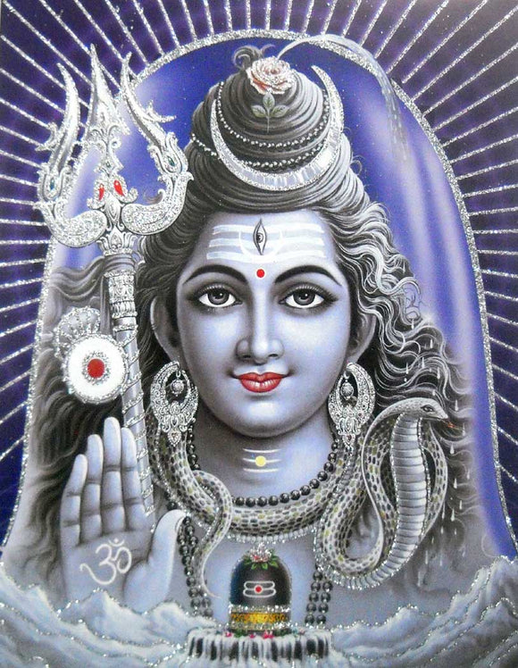 Blessing Lord Shiva poster/ Hindu God Poster with Glitter -reprint on paper (Unframed : Size 9