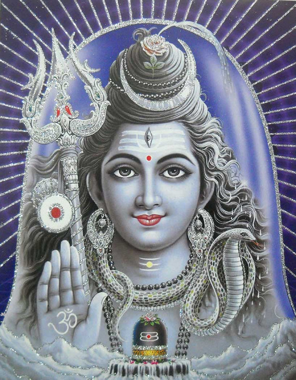 Blessing Lord Shiva/ Hindu God Poster with Glitter -reprint on paper (Unframed : Size 9