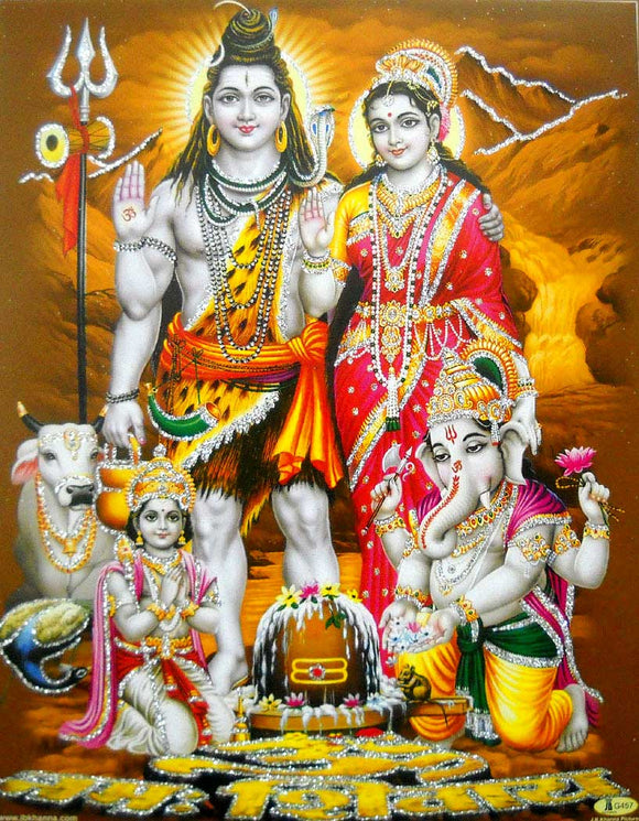 Lord Shiva Family/Hindu God Poster with Glitter -Reprint on Paper (Unframed : Size 9