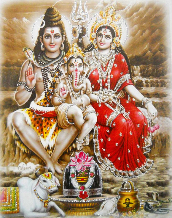 Lord Shiva Family poster/ Hindu God Poster with Glitter -reprint on paper (Unframed : Size 9