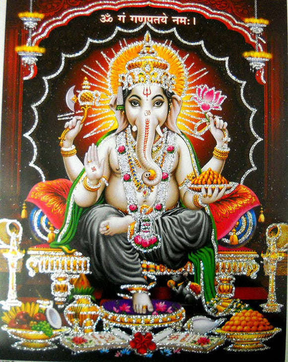 Auspicious Lord Ganesha/Hindu God Poster with Glitter Effect -Reprint on Paper (Unframed : Size 9