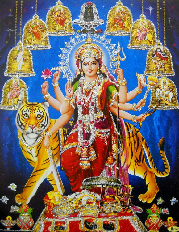 Nine Devis/ Hindu Goddess Poster with Glitter -reprint on paper (Unframed : Size 9