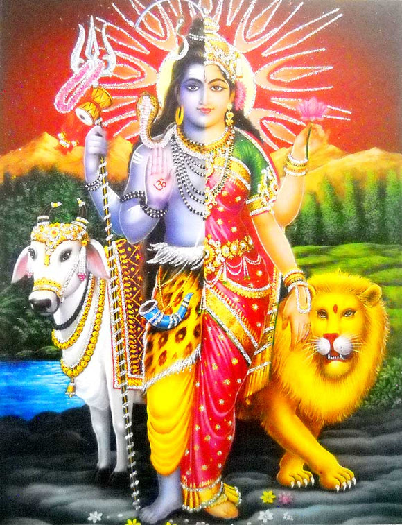 Lord Shiva as Ardhnarishvara Poster/Hindu God Poster with Glitter -Reprint on Paper (Unframed : Size 9