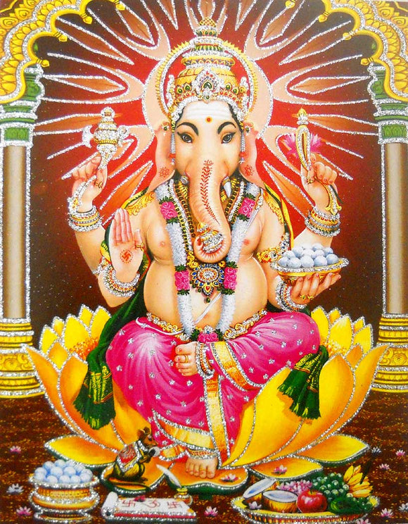 Blessing Ganesha poster/ Hindu God Poster with Glitter -reprint on paper (Unframed : Size 9