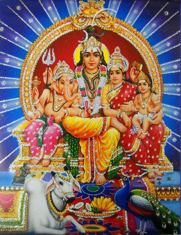 Lord Shiva Family/ Hindu God Poster with Glitter Effect -reprint on paper (Unframed : Size 9