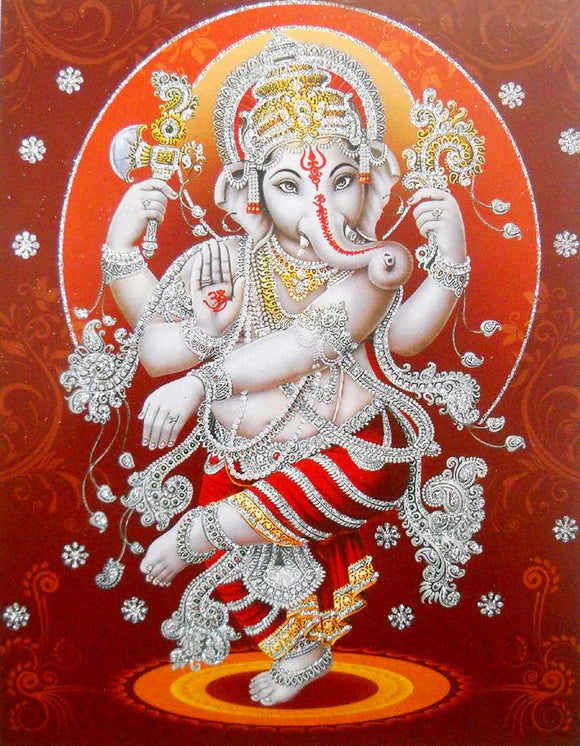 Dancing Ganesha poster/ Hindu God Poster with Glitter -reprint on paper (Unframed : Size 9