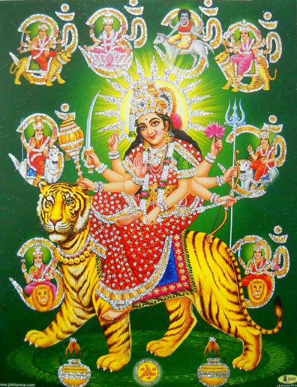 Nine Devi's/ Hindu Goddess Poster with Glitter -reprint on paper (Unframed : Size 9
