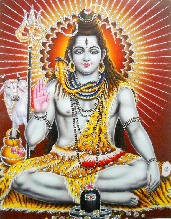 Lord Shiva poster/ Hindu God Poster with Glitter -reprint on paper (Unframed : Size 9