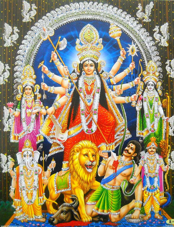 Brave Goddess Durga killing Demon/ Hindu Goddess Poster with Glitter -reprint on paper (Unframed : Size 9