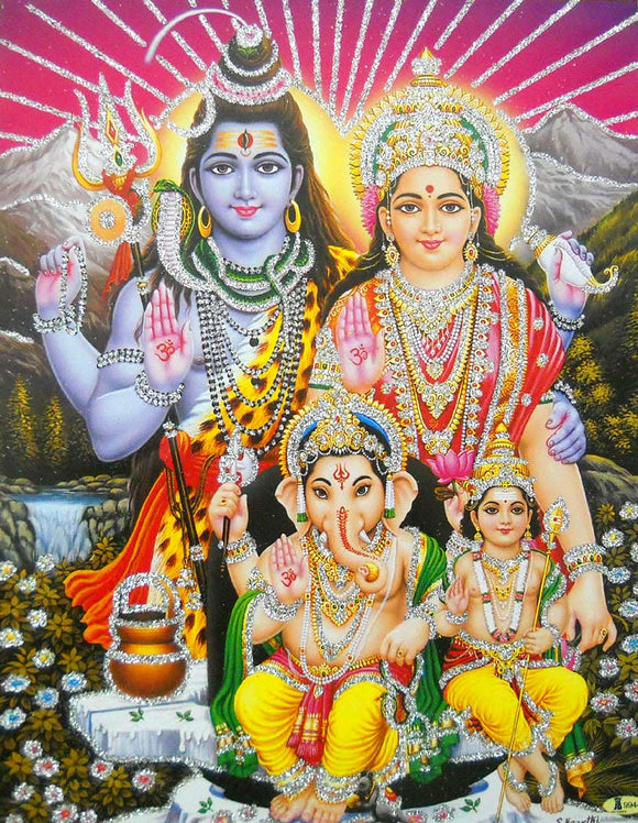 Lord Shiva Family/ Hindu God Poster with Glitter -reprint on paper (Unframed : Size 9
