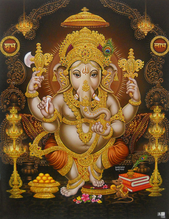 Auspicious Lord Ganesha/ Hindu Goddess Poster with Glitter Effect -reprint on paper (Unframed : Size 9