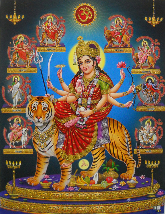 Nine Devi's/ Hindu Goddess Poster with Glitter Effect -reprint on paper (Unframed : Size 9