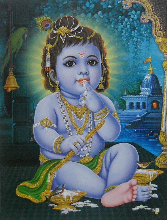 Makhan Chor Krishna/ Hindu God Poster with Glitter Effect -reprint on paper (Unframed : Size 9