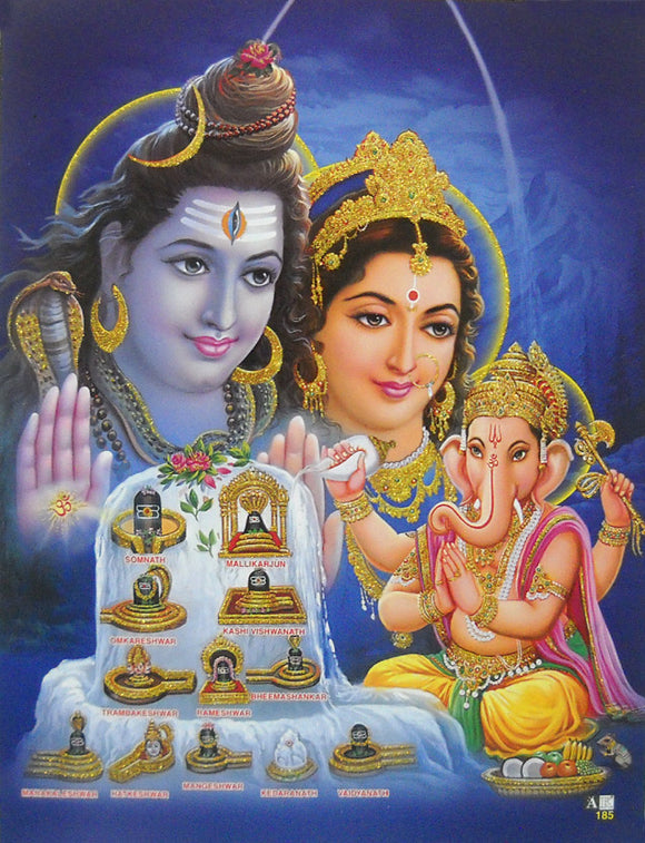 Twelve Jyotirlinga of Lord Shiva/ Hindu God Poster with Glitter Effect -reprint on paper (Unframed : Size 9