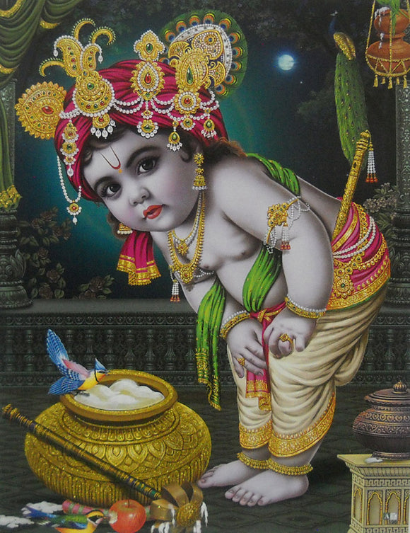 Makhan Chor Krishna/Hindu God Poster with Glitter Effect -Reprint on Paper (Unframed : Size 9
