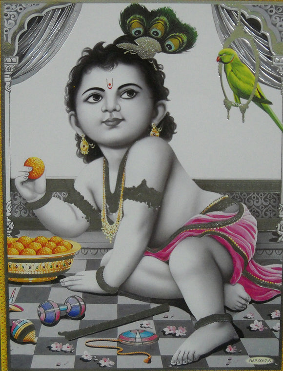 Ladoo Gopal Krishna/ Hindu God Poster with Glitter Effect -reprint on paper (Unframed : Size 9