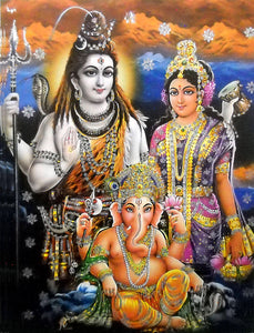 "Lord Shiva Family/Large Hindu God Poster with Glitter Effect -Reprint on Paper (Unframed : Size 20""x28"" Inches)"