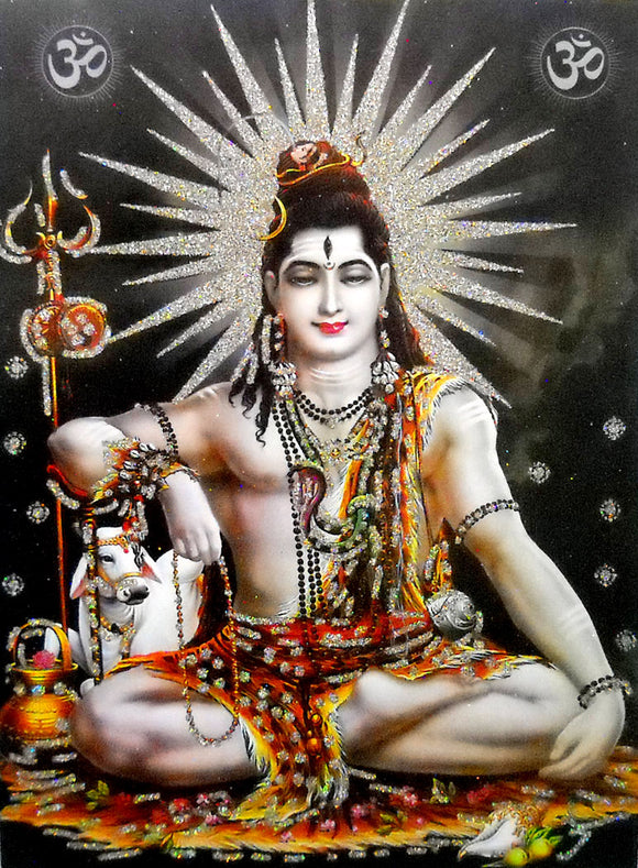 Lord Shiva/ Large Hindu God Poster with Glitter Effect -reprint on paper (Unframed : Size 20